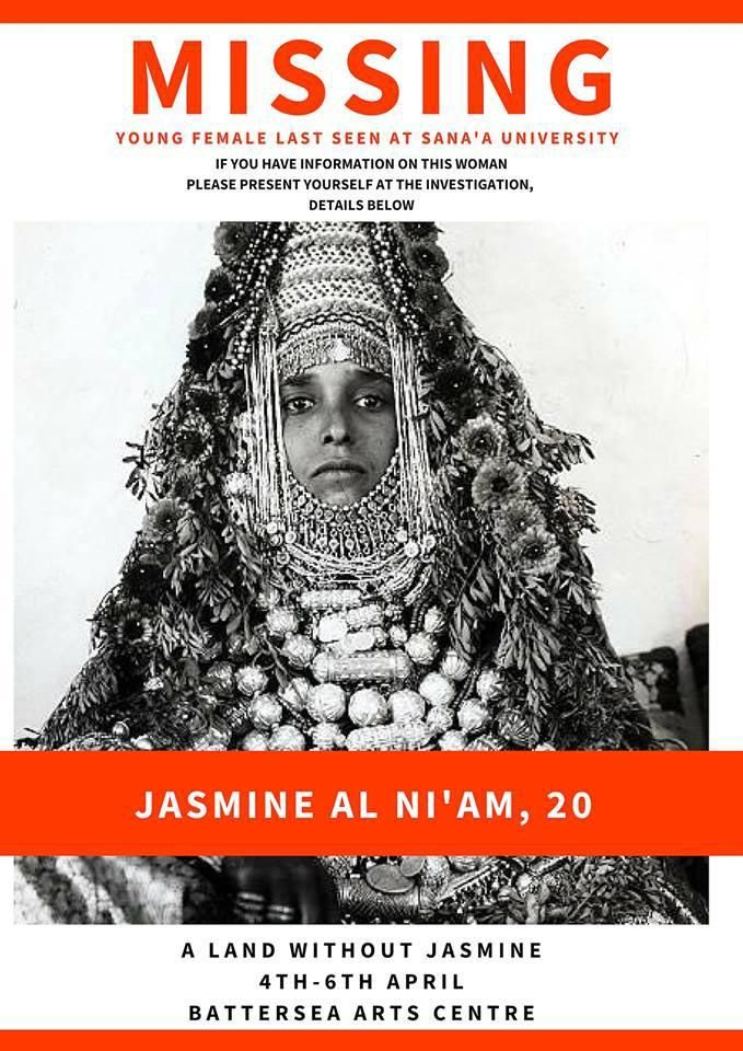 "Between the macabre and the piquant. Promotion poster of  ""A Land Without Jasmine,"" the first Yemeni theatre production staged in London.         (Courtesy of Battersea Arts Centre)"