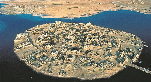 An aerial view of the island.