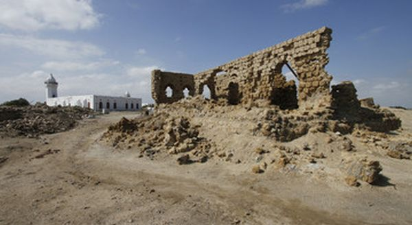 A renovated mosque among the ruins.