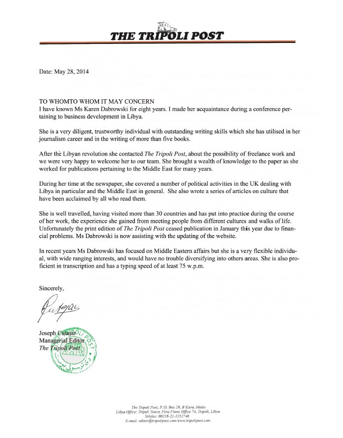 Tripoli Post reference letter